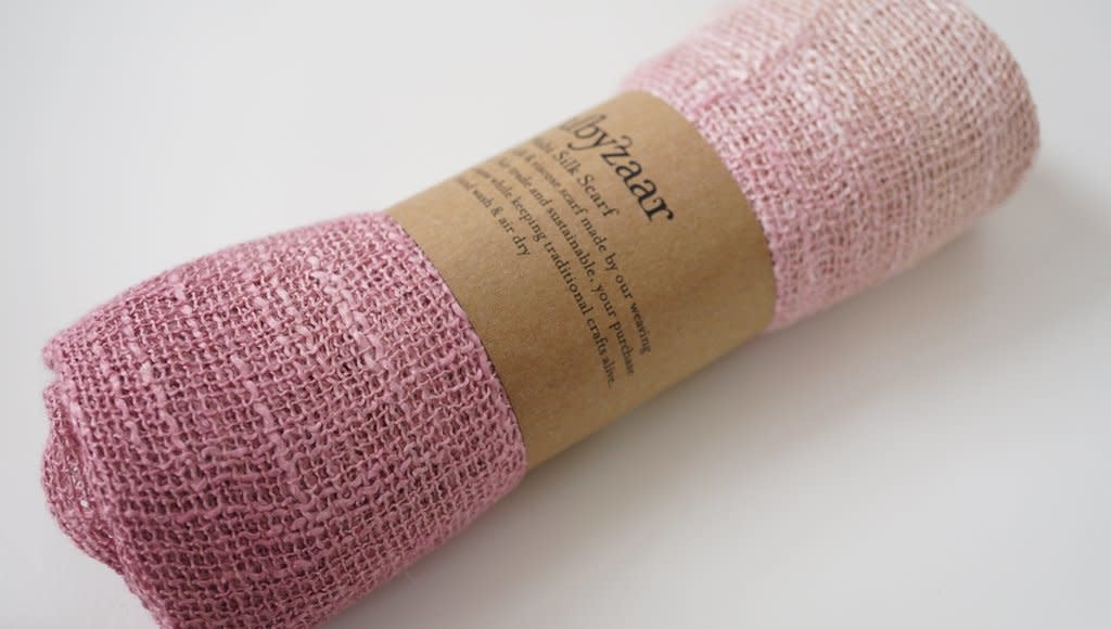 Rubyzaar Lavendar Wabi Silk Ombre Dyed Handspun Handwoven Scarf