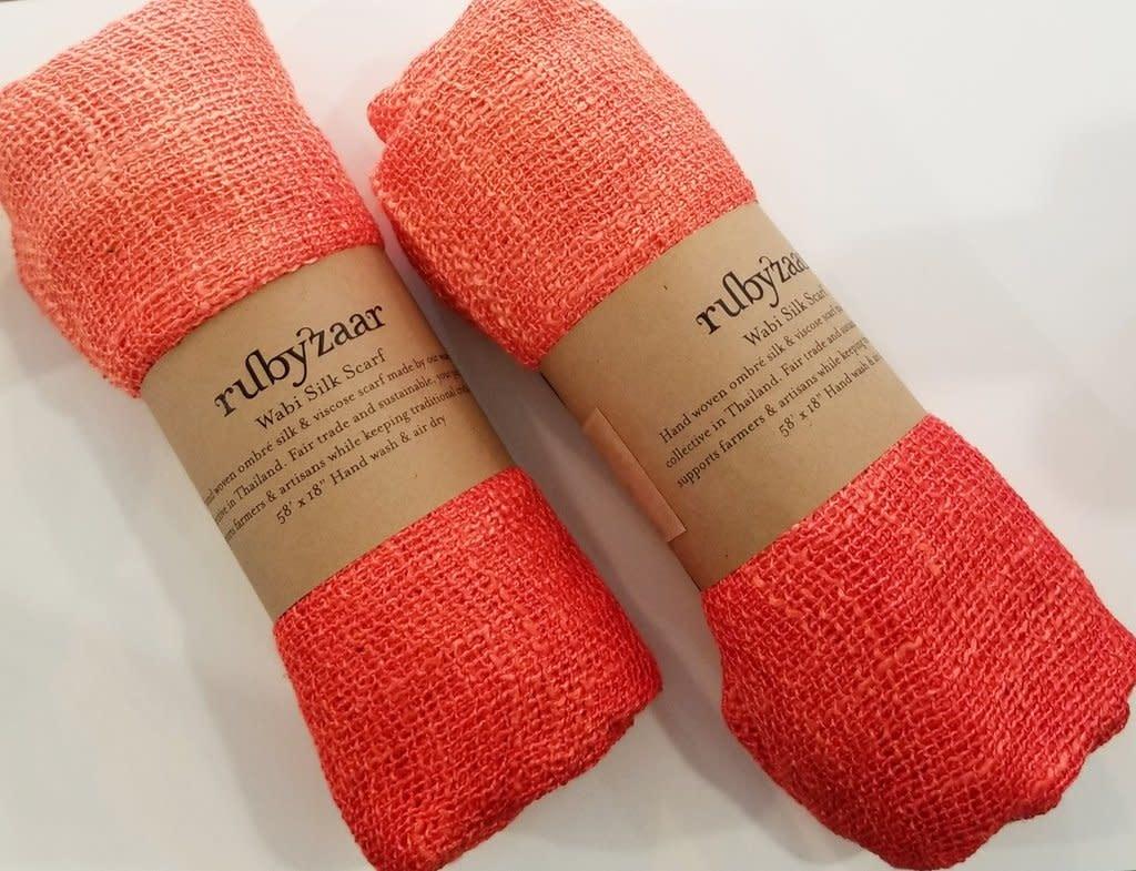 Rubyzaar Garnet Quartz Wabi Silk Ombre Dyed Handspun Handwoven Scarf
