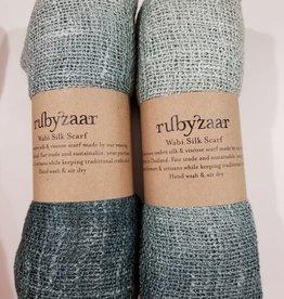 Rubyzaar Pewter Wabi Silk Ombre Dyed Handspun Handwoven Scarf