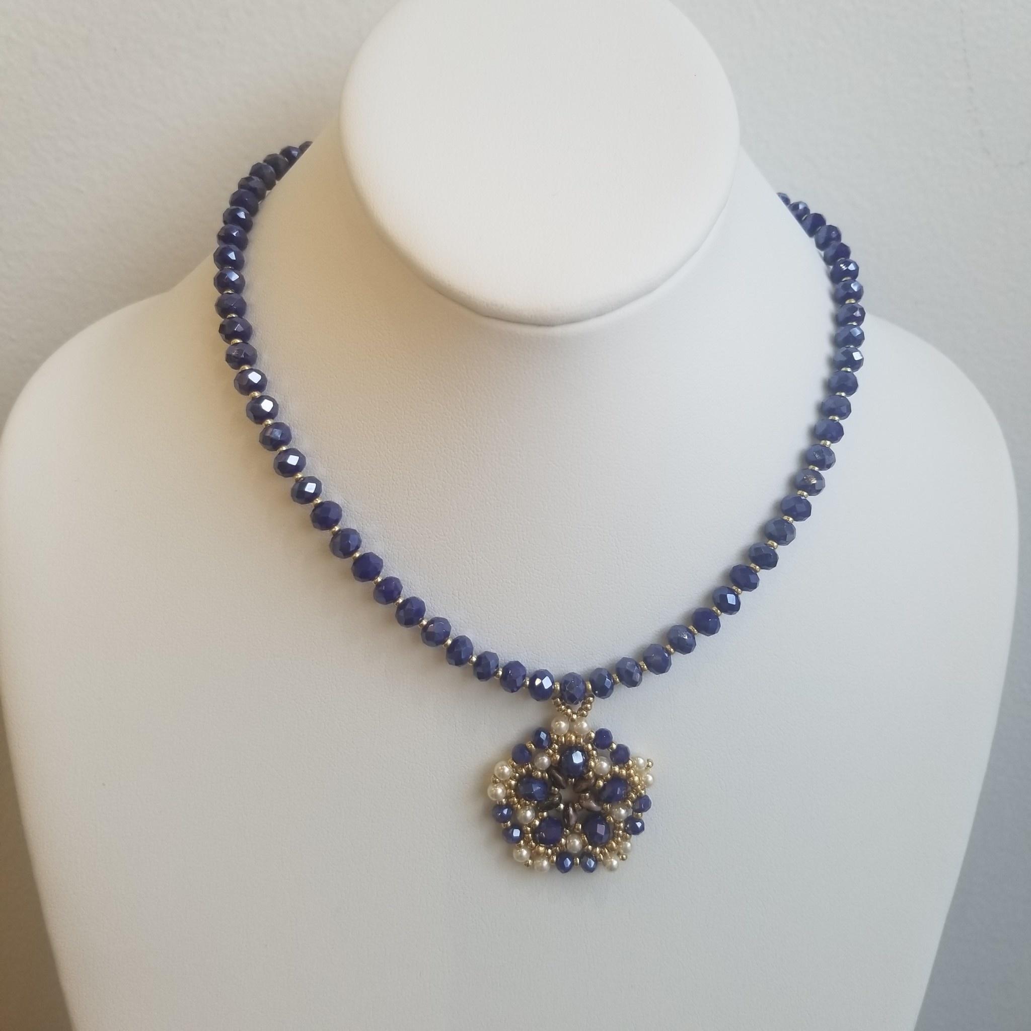 Esmeralda Lambert Royal Blue Pearl Gold Filled Handwoven Pendant Statement Necklace