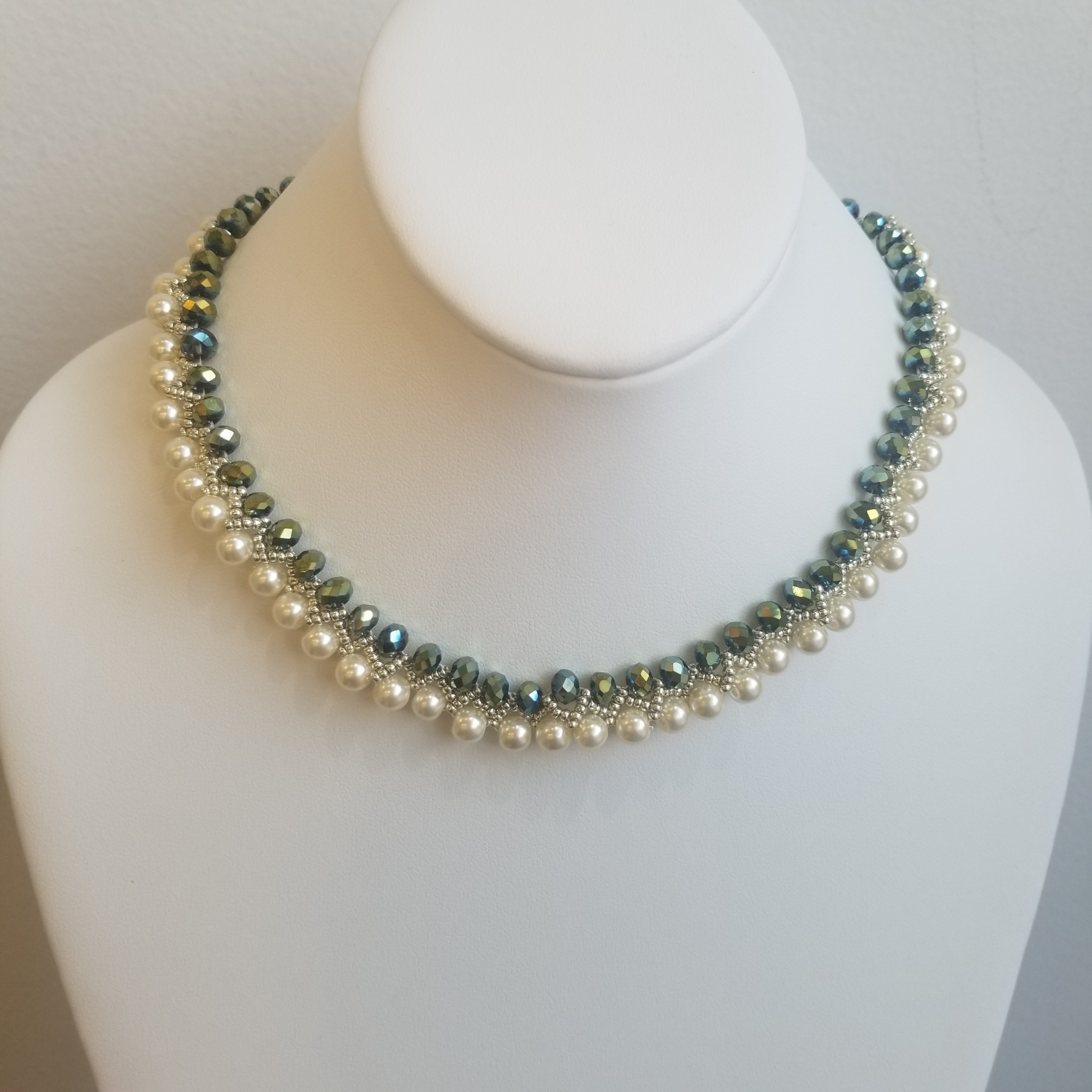 Esmeralda Lambert Handwoven Pearl and Crystals Necklace Silver - Green and White