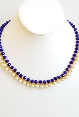 Esmeralda Lambert Handwoven Pearl and Crystals Necklace Goldfilled - Blue White and Gold