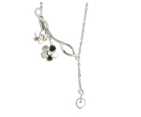 Mark Steel Flower Swarovski Pearl Pendant Sterling Silver