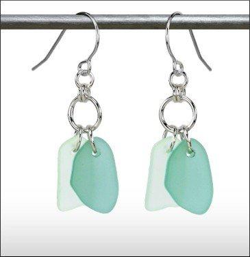 Austin Cake Earrings Duo Seafoam Clear