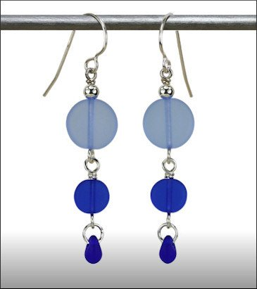 Austin Cake Earrings Sun Stone Cobalt Blue