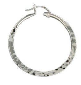 Mark Steel Hammered Hollow Hoop 40mm Gold Filled
