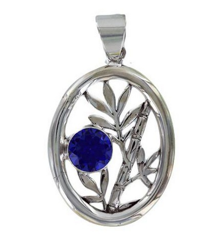 Vera + Wolf Sterling Silver Bamboo Oval Pendant