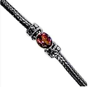 Vera + Wolf Sterling Silver Dot Weave Stone Bracelet