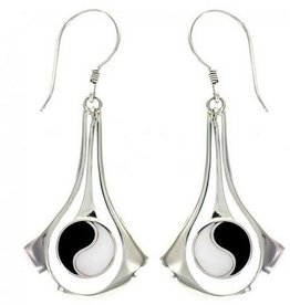 Vera + Wolf Sterling Silver Mother of Pearl/Dark Shell Yin Yang Earring