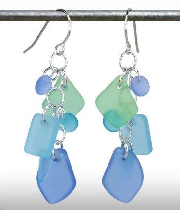 Austin Cake Earrings Cascade Blue Seafoam