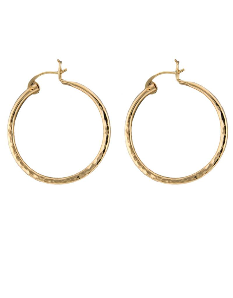 Mark Steel Hammered Hollow Hoop 30mm Gold Filled