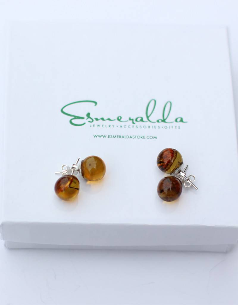 Esmeralda Lambert Amber Sterling Silver Earrings Stud Ball
