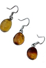Esmeralda Lambert Amber Sterling Silver Earrings Tear Drop Medium