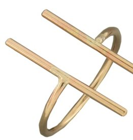 Mark Steel Double Bar Gold Filled Ring 144