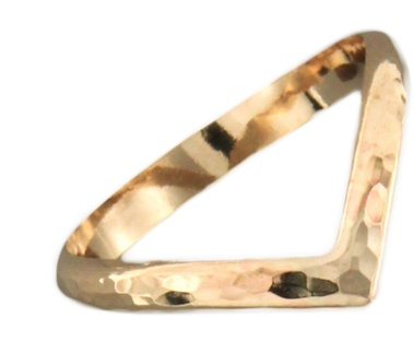 Mark Steel Hammered Chevron Gold Filled Ring 56