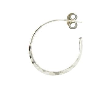 Mark Steel Post Hammered Hoop Sterling Silver Earring 20mm