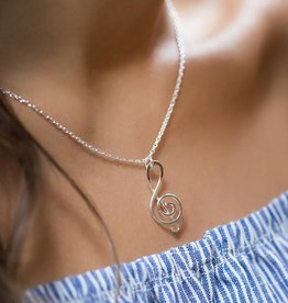 "Mark Steel Sterling Silver Music Note 18"" Pendant Necklace"