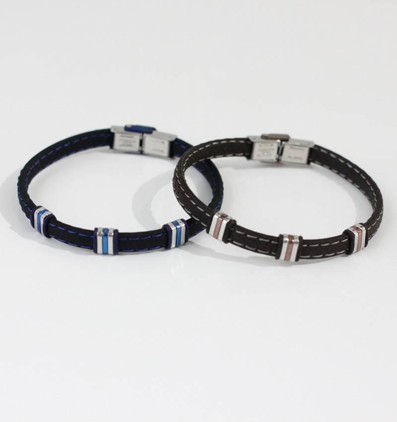 Marpa Eager Blue Silver Men's Leather Bracelet - 235