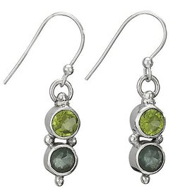 Steven + Clea Round Peridot Apatite Earrings