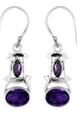 Vera + Wolf Sterling Silver Double Gem Earrings