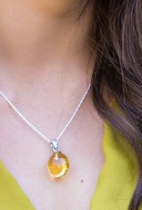 Esmeralda Lambert Amber Large Raw Sterling Silver Pendant Necklace