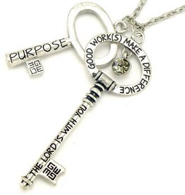 Helena Cho Annointed Keys Luke 1:28 Brushed Silver Necklace