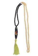 Esmeralda Lambert Green Black Tassel Crystal Gold Chain Necklace