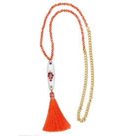 Esmeralda Lambert Orange White Tassel Crystal Gold Chain Necklace
