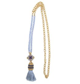 Esmeralda Lambert Tassel Chain Handwoven Gold Necklace MN157