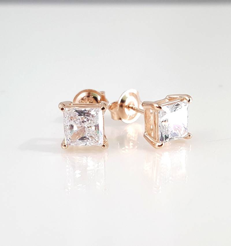 18k Rose Gold Over Sterling Silver 2 51ct Cz Square Studs
