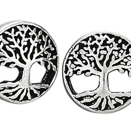 Steven + Clea Round Tree Sterling Silver Stud Earrings