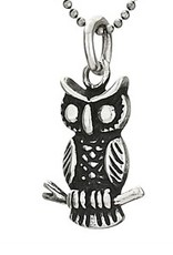 Steven + Clea Small Owl Sterling Silver Pendant Necklace