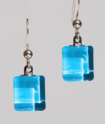 Bryce + Paola Tiny Sq. Sola AZURE BLUE Earrings