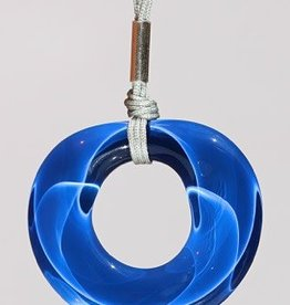 Bryce + Paola Round Hollow Sola LAPIS Pendant on a Nylon Cord Necklace
