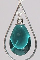 Bryce + Paola Mini Teardrop Sola With Silver Hoop Pendant PEACOCK on a Sterling Silver Chain