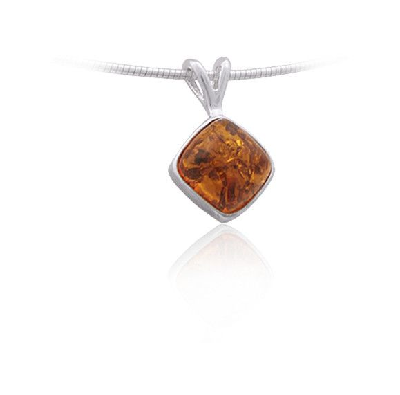 Baltic Amber Amber Honey Diamond Sterling Silver Pendant Necklace