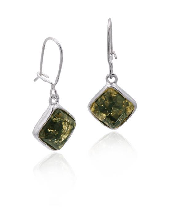Baltic Amber Amber Green Large Diamond Earrings