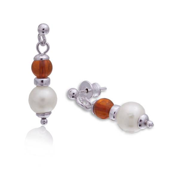 Baltic Amber Amber Honey Pearl Drop Post Earrings