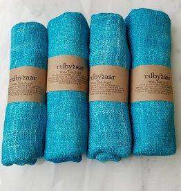 Rubyzaar Light Turquoise Wabi Silk Ombre Dyed Handspun Handwoven Scarf