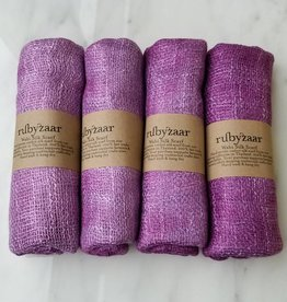 Rubyzaar Amethyst Wabi Silk Ombre Dyed Handspun Handwoven Scarf