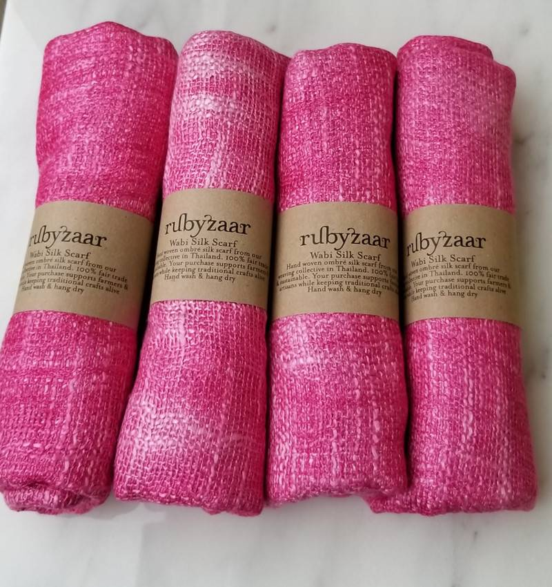 Rubyzaar Fuschia Wabi Silk Ombre Dyed Handspun Handwoven Scarf