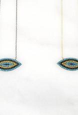 Andrea Justine Stratton Evil Eye Crystal 22kt Gold Vermeil Necklace