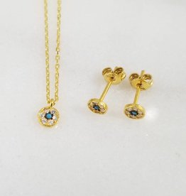 Andrea Justine Stratton Evil Eye Circle CZ 22kt Gold Vermeil Tiny Earrings