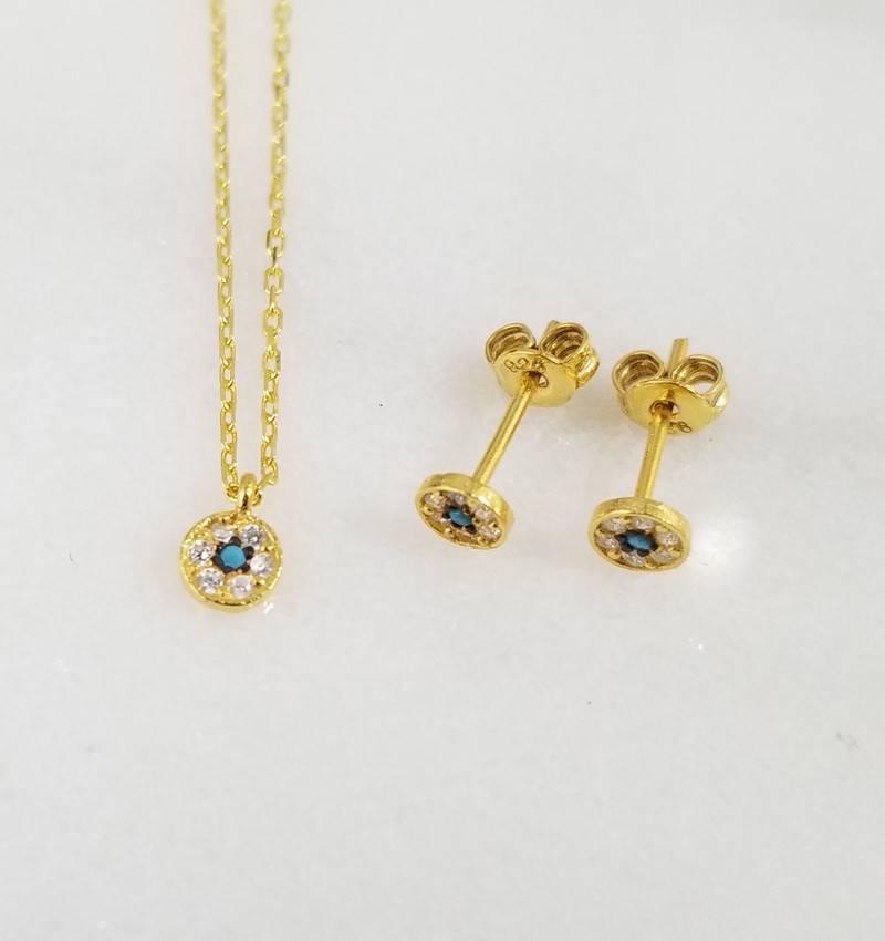 Andrea Justine Stratton Evil Eye Circle CZ 22kt Gold Vermeil Tiny Necklace