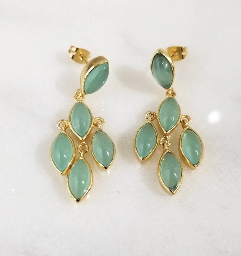 Andrea Justine Stratton Aqua Chalcedony 5 Stone Chandelier 22kt Gold Plated Earrings