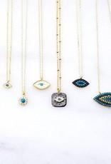 Andrea Justine Stratton Evil Eye Oval CZ Oxidized Square 22kt Gold Vermeil Necklace