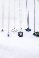 Andrea Justine Stratton Evil Eye Oval CZ Sterling Silver Tiny Necklace