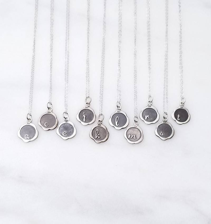 "Precila G 2 Sided Initial Oxidized Wax Seal Sterling Silver 16"" Necklace"