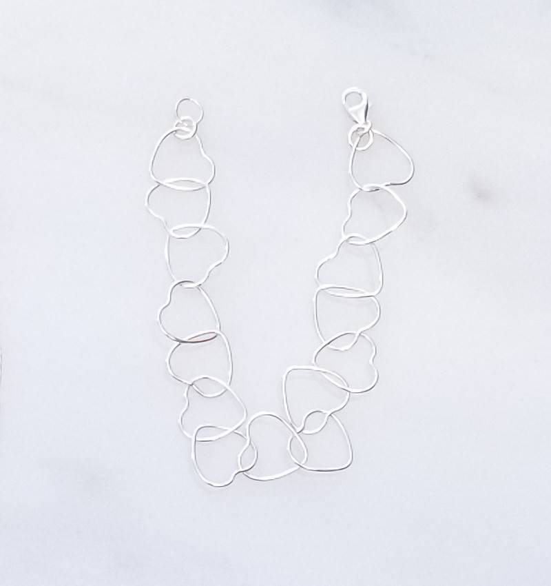 Precila G Heart Links Sterling Silver Bracelet