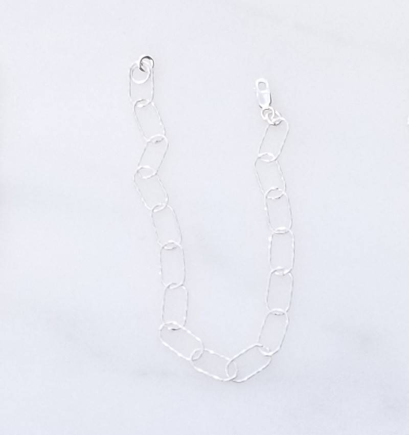 Precila G Rounded Rectangle Links Sterling Silver Bracelet